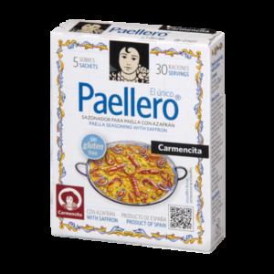 Doosjes met 5 zakjes Spaanse paellakruiden inclusief saffraan_Paellero van Carmencita. In Nederland te koop bij Alegre Import.nl